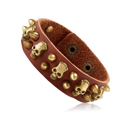 Men S Brown Leather Skull And Bullet Studs Cuff Bracelet 21mm