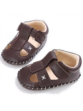 Newborn to 18M Baby Boy PU Leather Anti-slip Crib Pram Shoe Sandals Sneakers