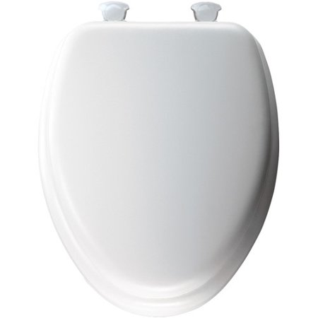 Sedona Beige Elongated Toilet Seat - MAYFAIR Elongated Cushioned Vinyl Soft Toilet Seat in White with Easy•Clean & Change® Hinge