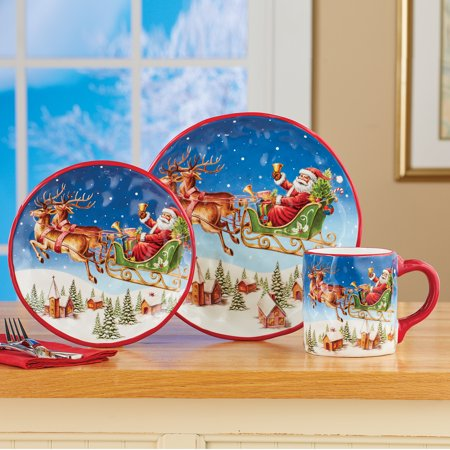 Christmas Place Settings (Santa Claus and Reindeer Place Setting - Set of 3 - Festive Christmas Dinner)