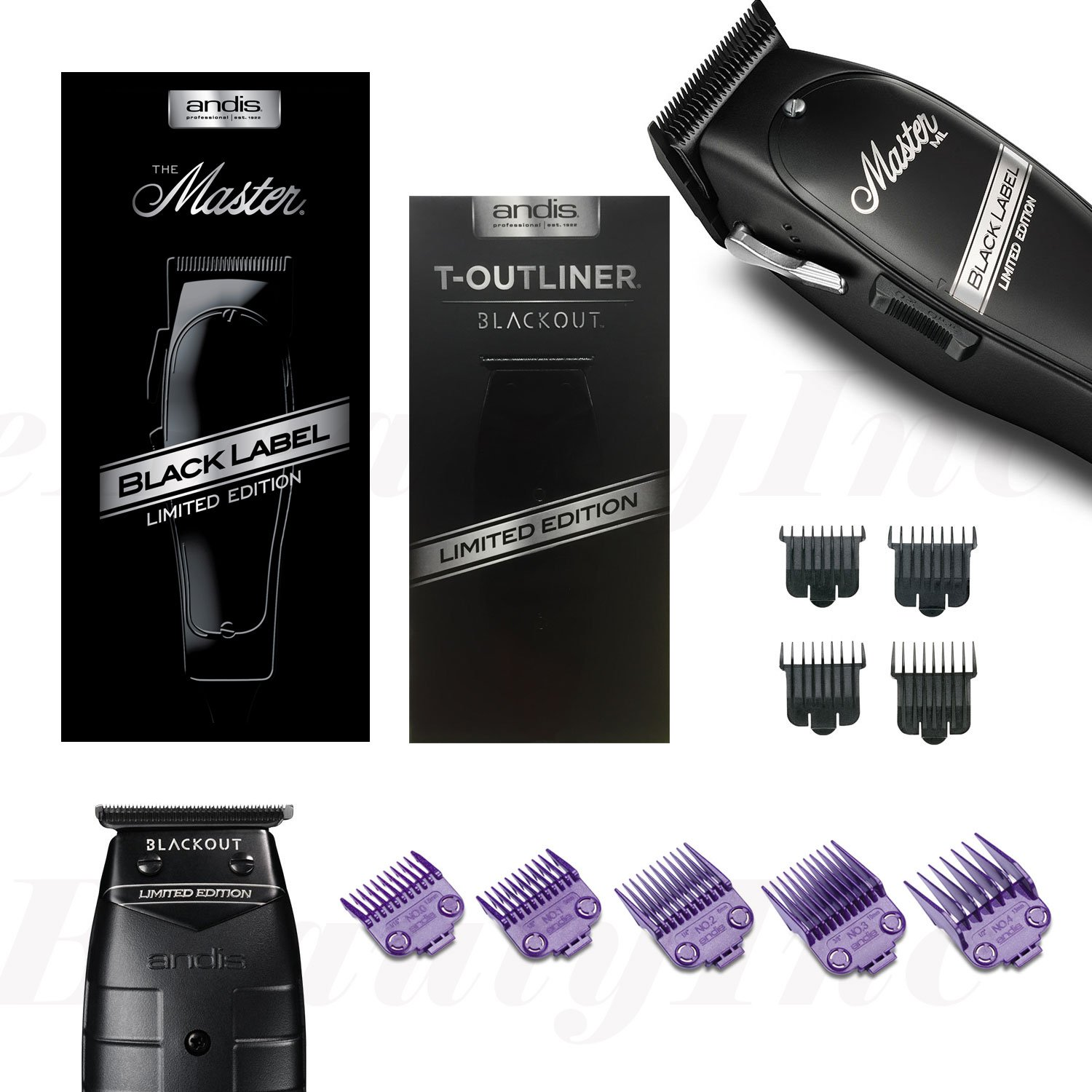 Andis Master Black label Clipper & Blackout T-Outliner Trimmer w/ Magnetic Combs