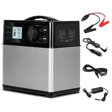 Gymax 400Wh Portable Solar Power Generator Supply Energy Storage 4*USB/2AC&DC Inverter