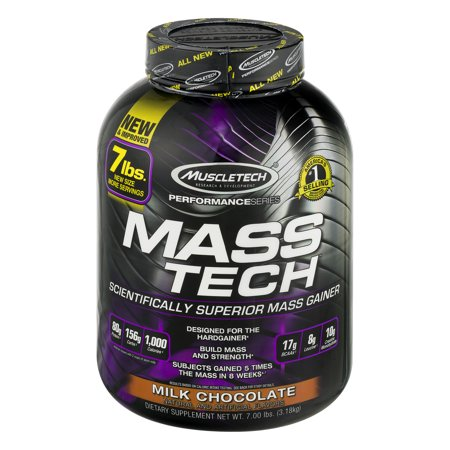 - Muscletech Mass Tech Gainer Protein Powder, Milk Chocolate, 60g Protein, 7 Lb