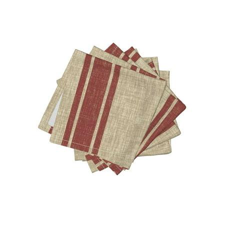 Cocktail Napkins Red Beige Stripes Vintage Stripe Western Cowboy Set of 4 (Cowboy Napkins)