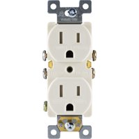 GE Grounding Duplex Outlet, In Wall Receptacle, Tamper Resistant Outlets, 3 Prong Electrical Socket, Easy Install, 15 Amp, UL Listed, Light Almond, 17815