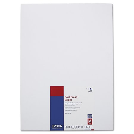 Epson Cold Press Bright Fine Art Paper, 13 x 19, Bright White, 25 Sheets