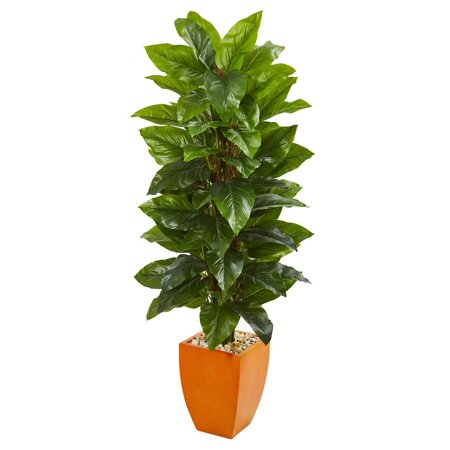 5.5 Large Leaf Philodendron Artificial Plant in Orange Planter (Real Touch) ()