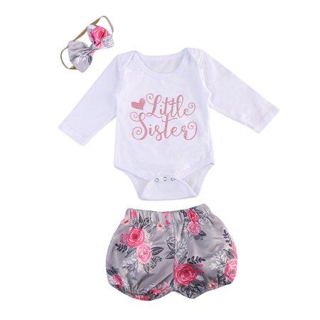 3PCS Newborn Baby Girls Clothes Sister Romper Jumpsuit Bodysuit+Floral Pants Shorts +Hair band Outfit Set](50 Outfits)