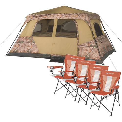 Ozark Trail Realtree 8 Person Instant Tent and 4 Chairs Value Bundle