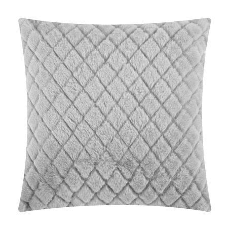 "Mainstays Cut Faux Fur Throw Pillow, 18"" x 18"", Grey"