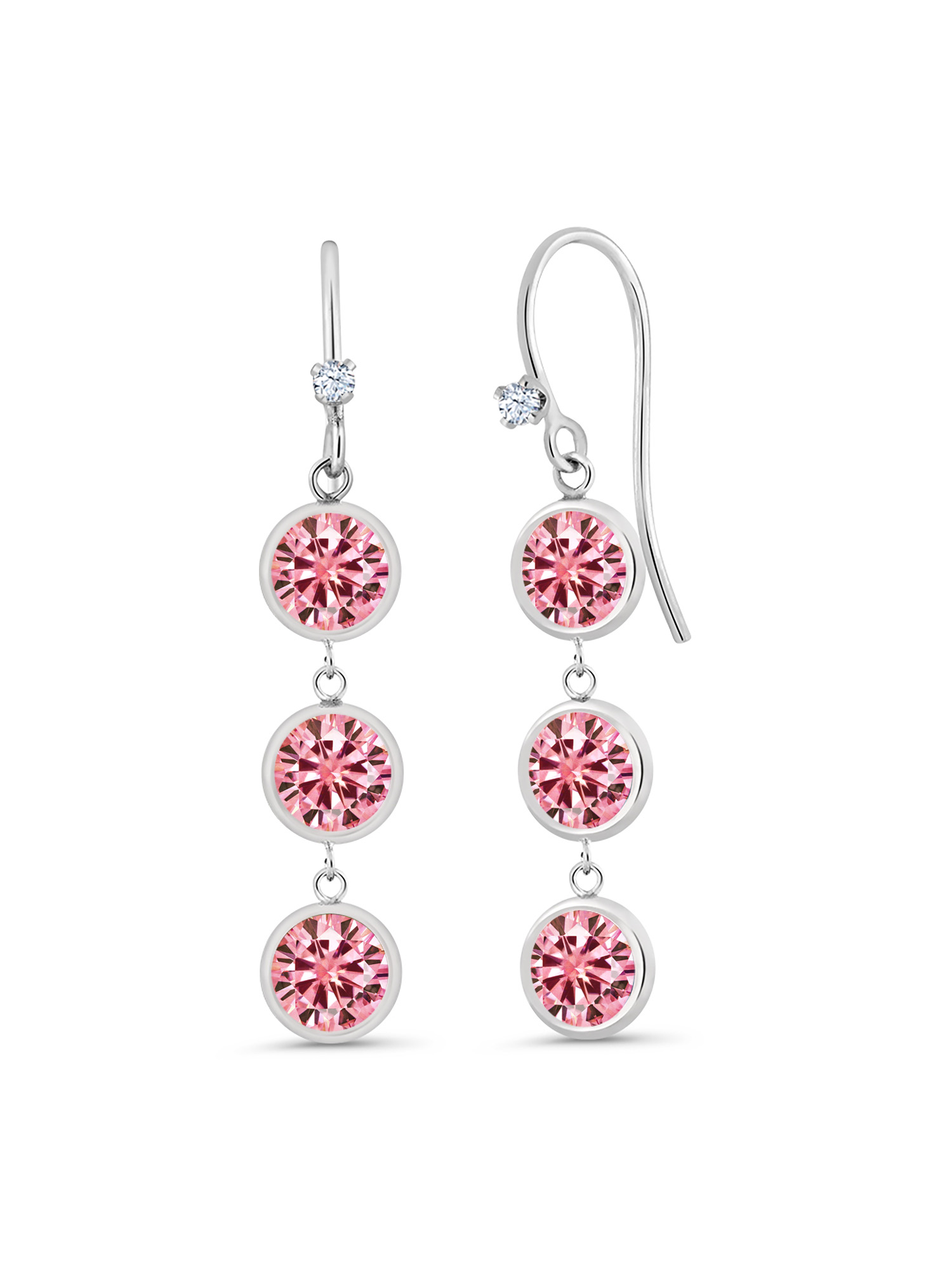 925 Sterling Silver Earrings Round Pink Created Moissanite 3.00ct DEW
