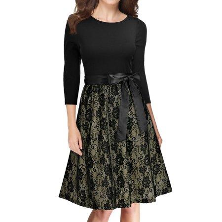 MIUSOL Women's Casual Vintage Floral Lace Contrast Bow Evening Party Dresses for Women (Black