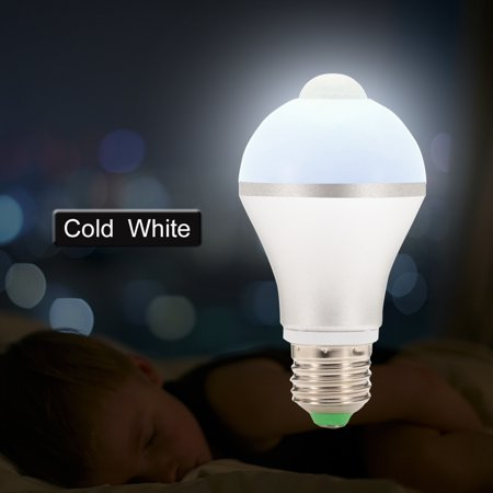 E26 7W LED Motion Sensor Light Bulb, Cold White Auto On/Off Night Light for Corridor Stairs Garage Hallway - image 4 de 6