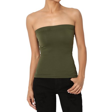 a638a1f08c TheMogan - TheMogan Junior s Strapless Bandeau Seamless Short Fitted Tube  Top Many Colors - Walmart.com