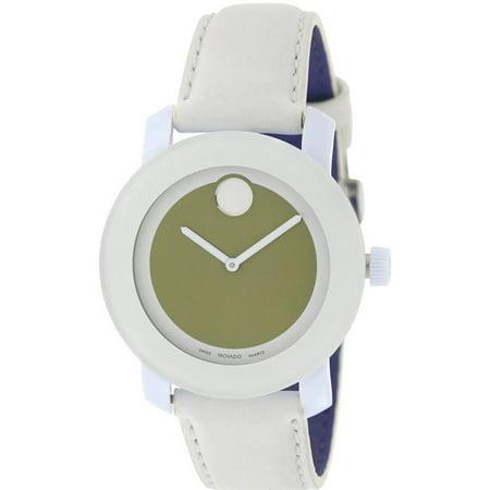 Movado Bold Medium White Leather Unisex Watch 3600051