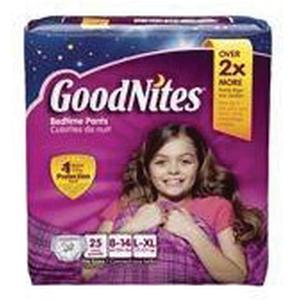 GOODNITES Girls Nighttime Pants Large/XL, 60 to 125 lbs, Pack of 25