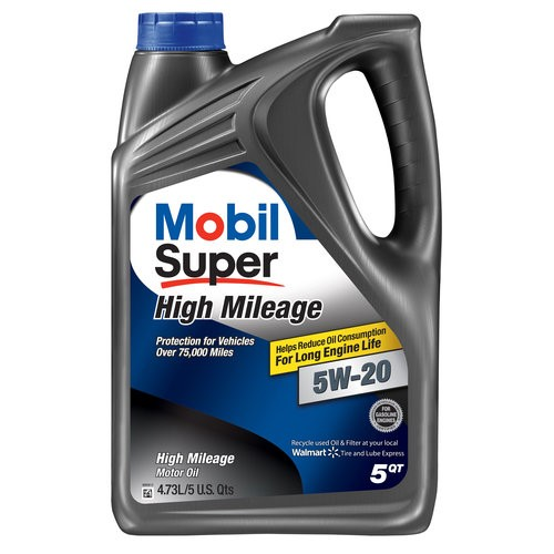 Mobil Super 5W-20 High Mileage Motor Oil, 5 qt.