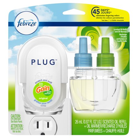 Febreze Plug Scented Oil Refill and Oil Warmer with Gain Scent, Original, 0.87 fl