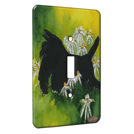 KuzmarK™ Single Gang Toggle Switch Wall Plate - Black Scottish Terrier with Daisies Scottie Dog Art by Denise Every