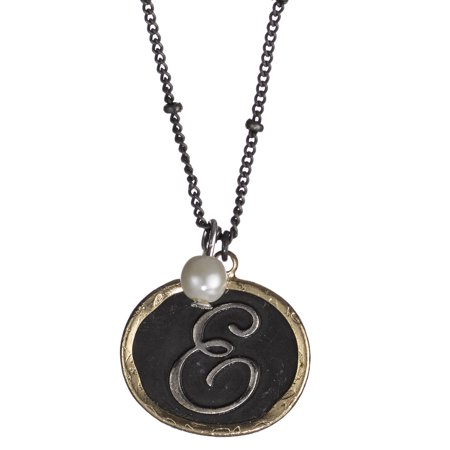 "Monogram Rustic Antique Hammered Pendant 16"" Necklace & Imitation Pearl Charm by Jewelry Nexus"