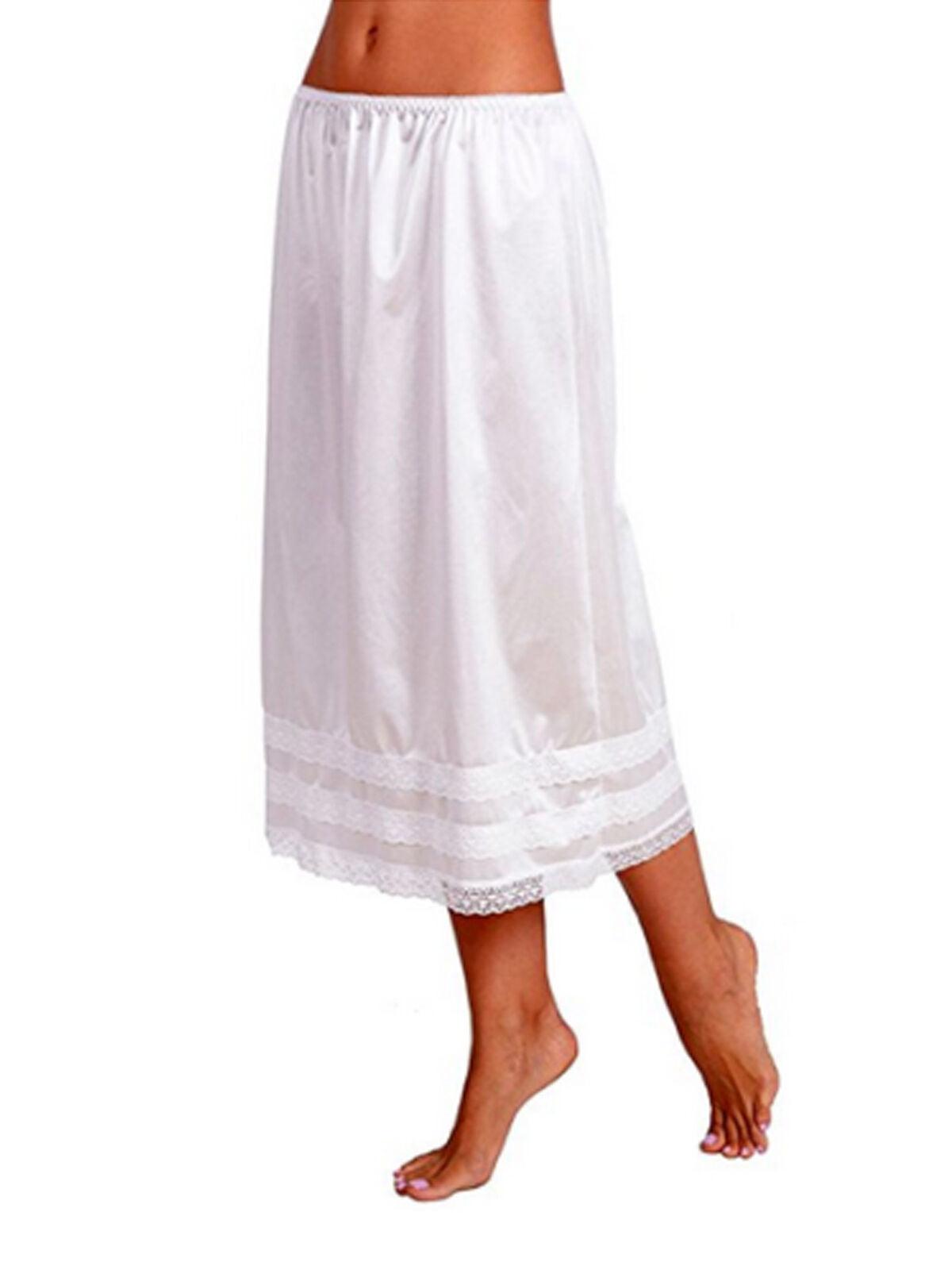 Ladies womens chemise underskirt petticoat nightie satin silk white 8-24 new