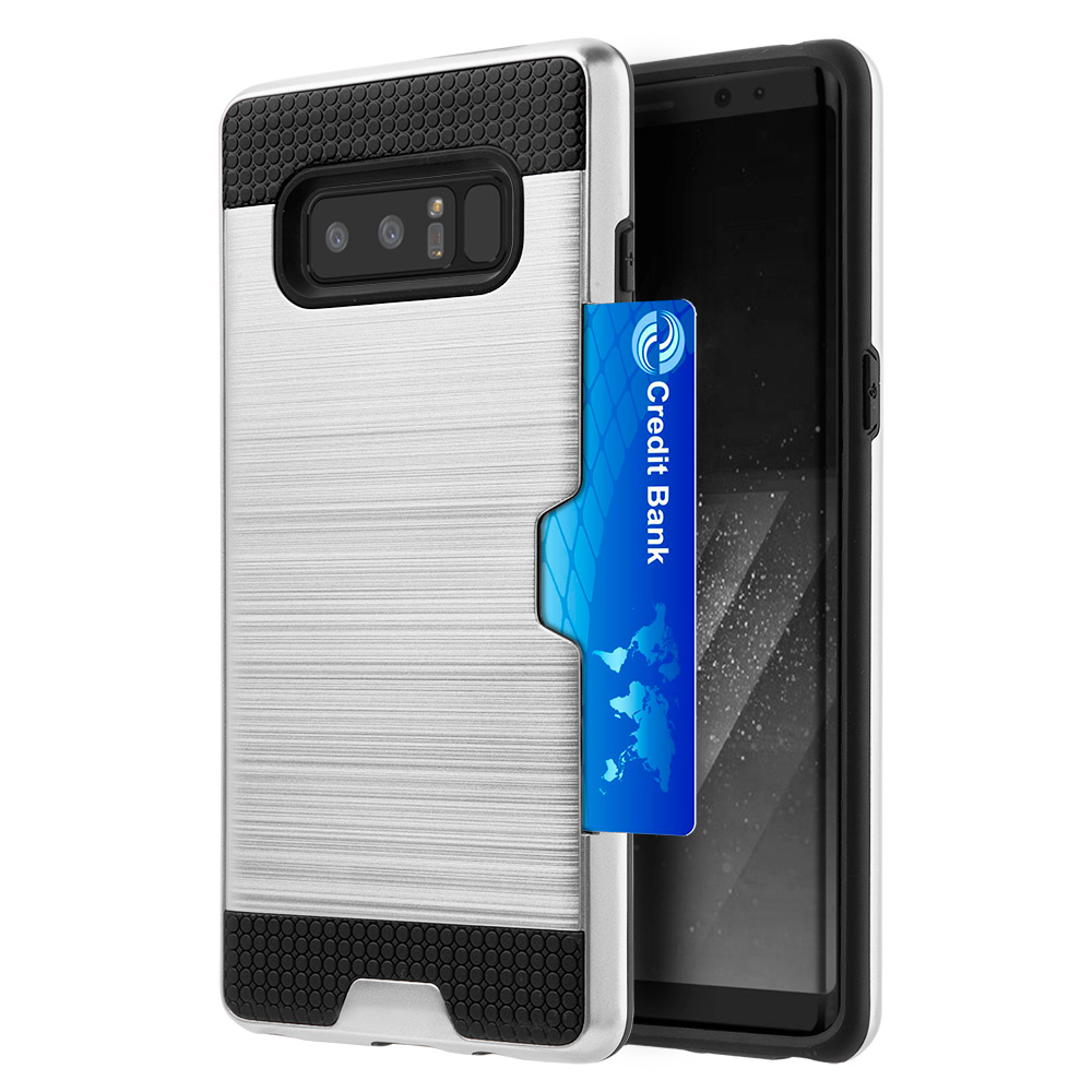 Samsung GalaxyCase, Premium Stylish Hybrid Dual Layer Protective Hard Cover (Lightweighted, Card Slots, Raised Bezel, User friendly) for Samsung Galaxy Note 8 SM-N950U - Black/ Silver