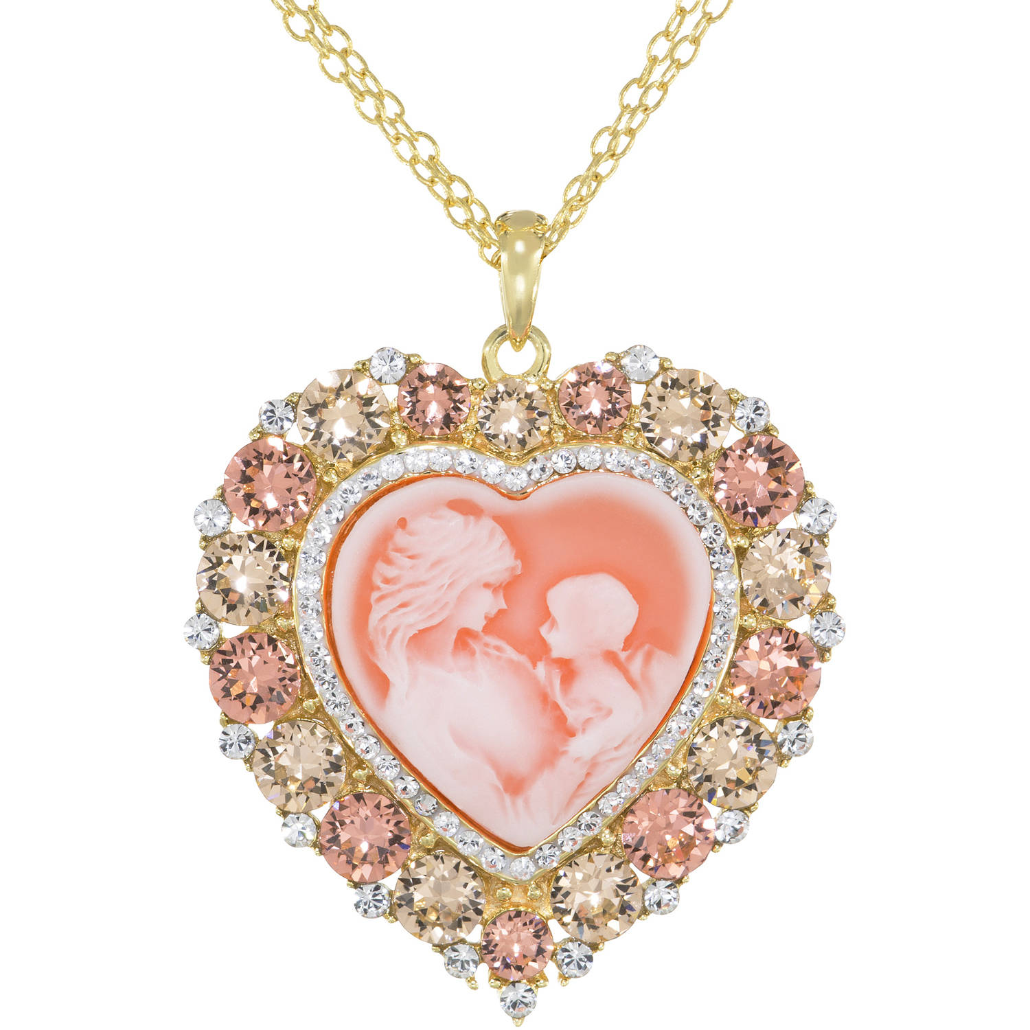 Luminesse Rose Crystal Sterling Silver and 18kt Gold-Plate Heart Cameo Pendant, 18""