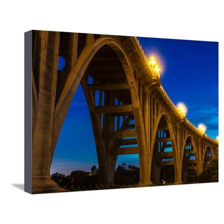 Historic Colorado Bridge Arches at dusk, Pasadena, CA Stretched Canvas Print Wall (Pasadena Colorado)
