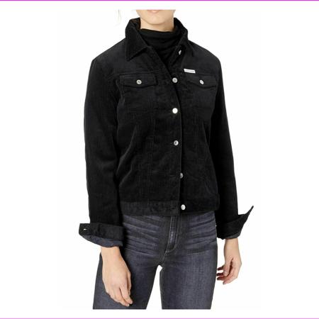 Calvin Klein Jeans Corduroy Fleece-Lined Jacket, Size L, Black, MSRP $168 Lined Microsuede Jacket