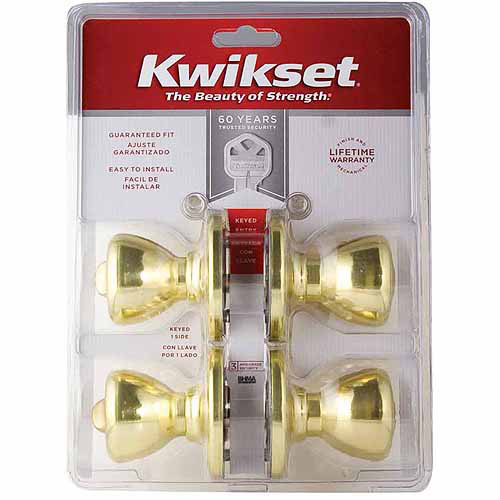 Kwikset 92430-022 Entry Locksets Tylo Knob, 2pk
