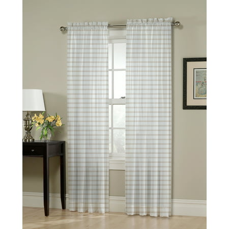 Better Homes & Gardens Muted Plaid Single Curtain (Panel End Single)