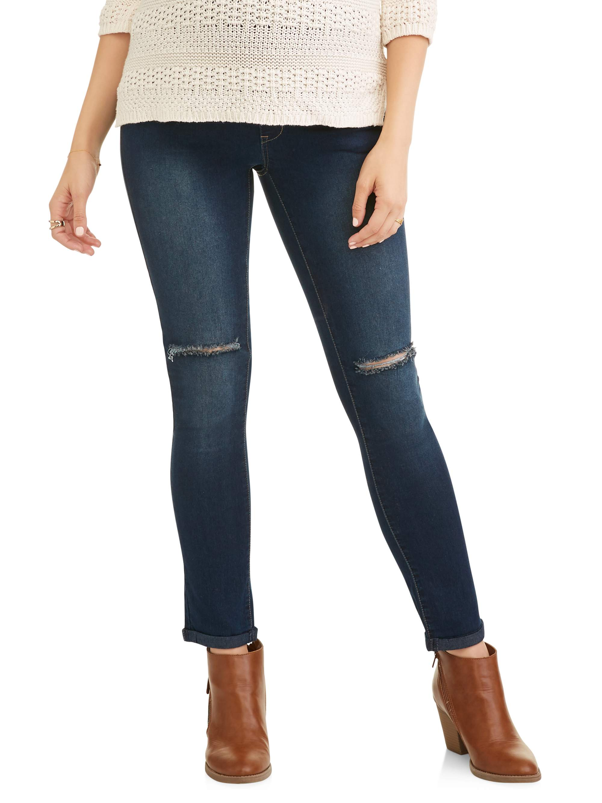 Maternity Full Panel Distressed Skinny Jeans - Available in Plus Sizes