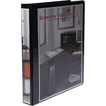 1 Capacity Black Binders ((12 Pack) Office Impressions Economy Round Ring View Binder, 1