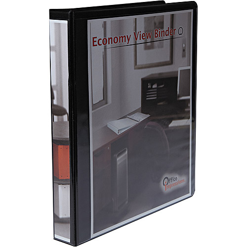 "Office Impressions Economy Round Ring View Binder, 1"" Capacity, Black"