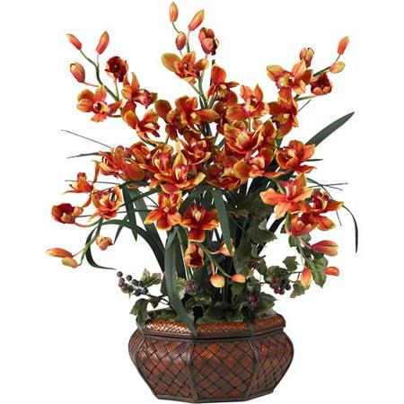 Nearly Natural Large Cymbidium Silk Flower Arrangement, Burgundy - Cheap Flower Arrangements