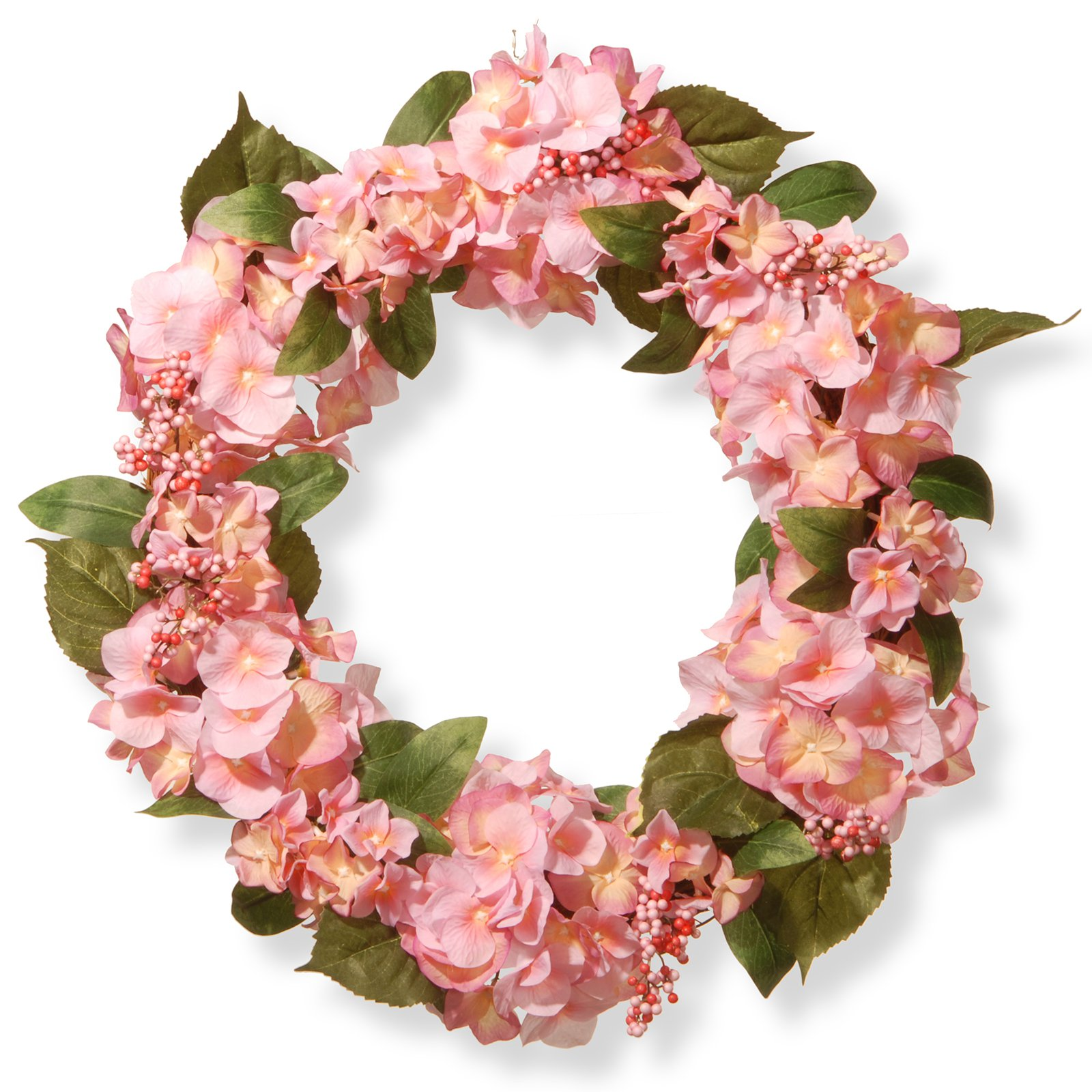 "National Tree Artificial 24"" Pink Hydrangea Wreath"