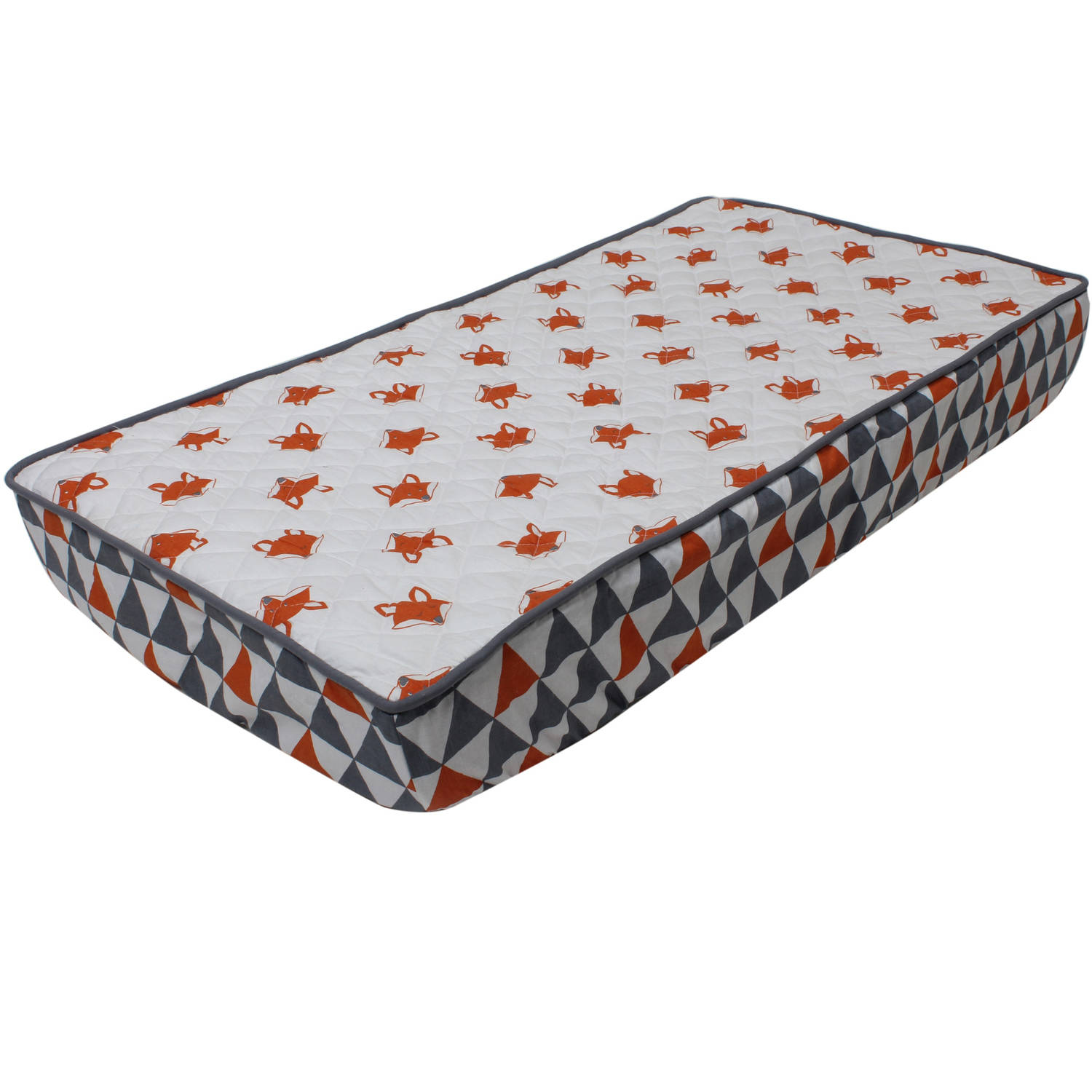 Bacati Playful Fox Printed Quilted Top 100% Cotton Percale with Polyester Batting With Triangles Gussett... by Bacati