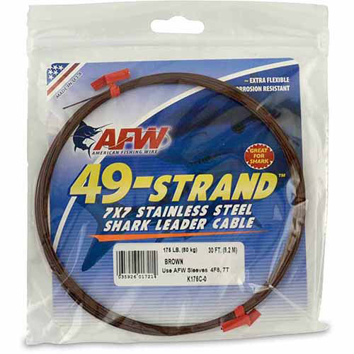 American Fishing Wire 49-Strand 7x7 Stainless steel Shark Leader Cable, 30'