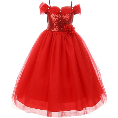 2bdfbd5280 Dreamer P - Little Girls Dress Sequin Glitter Off Shoulder Tulle Holiday  Party Flower Girl Dress Red Size 2 (K64K17) - Walmart.com