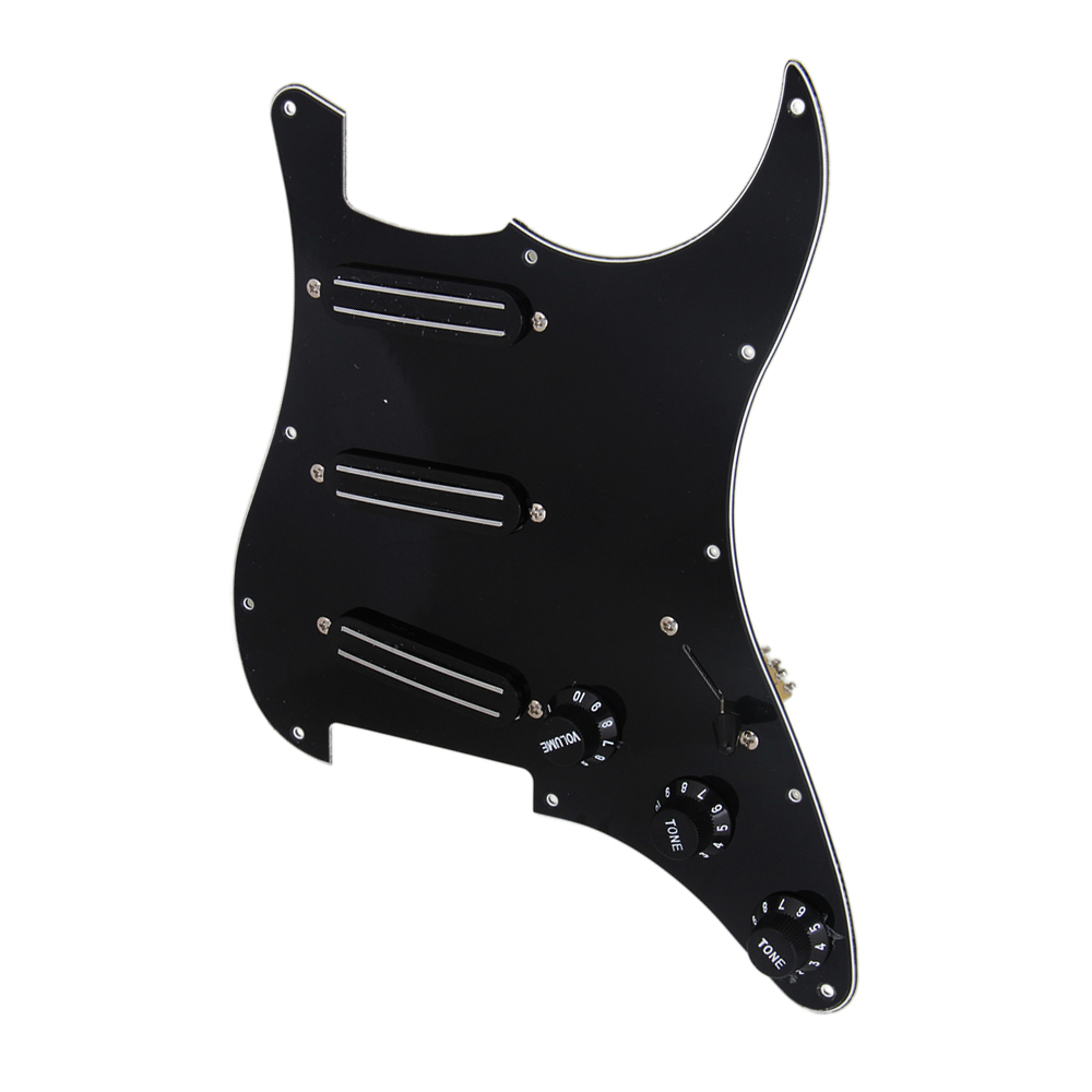 BQLZR Black 3-ply SSS Dual Rail Pickups Loaded Prewired Pickguards for 11 Hole Electric... by