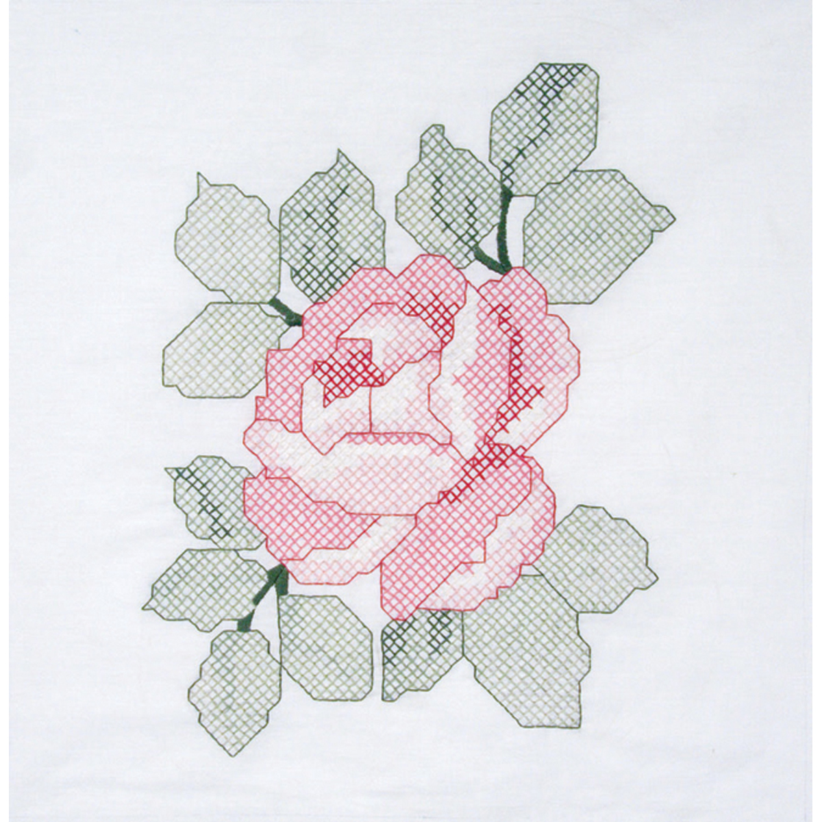 "Fairway Needlecraft Red Rose Stamped Quilt Blocks, 18"" x 18"""