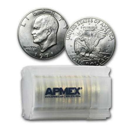 - 1971-S 40% Silver Eisenhower Dollars 20-Coin Roll BU