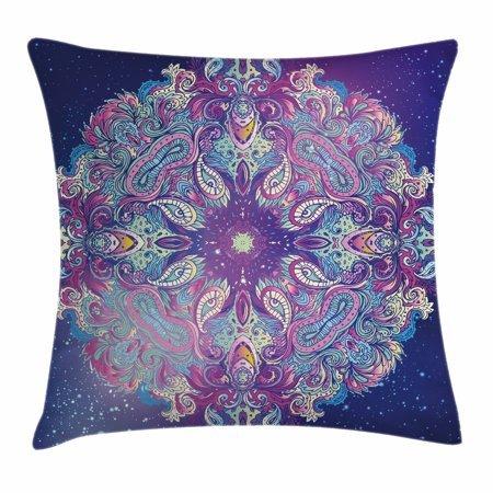 India Throw Pillow Cushion Cover, Spirituality Symbol Yoga Meditation Cosmos Theme Psychedelic Composition, Decorative Square Accent Pillow Case, 18 X 18 Inches, Aqua Pink Navy Blue, by Ambesonne