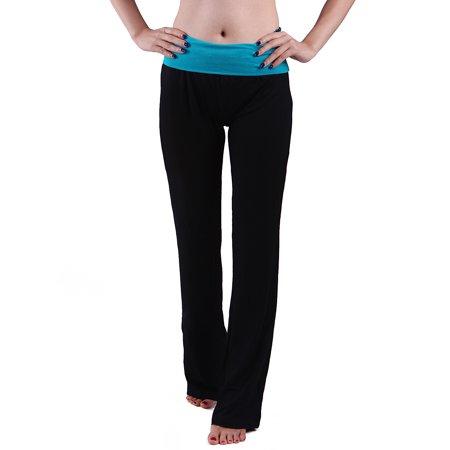 HDE Women's Maternity Yoga Pants Comfortable Lounge Pregnancy Pants Folded Waist (Small, Teal) ()