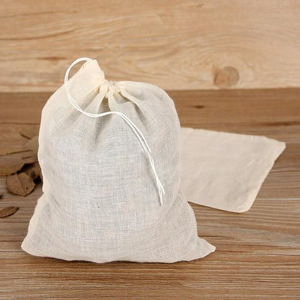 10pc Cotton Drawstring Straining Tea Cooking Separate Spice Filter Bag Net HOT
