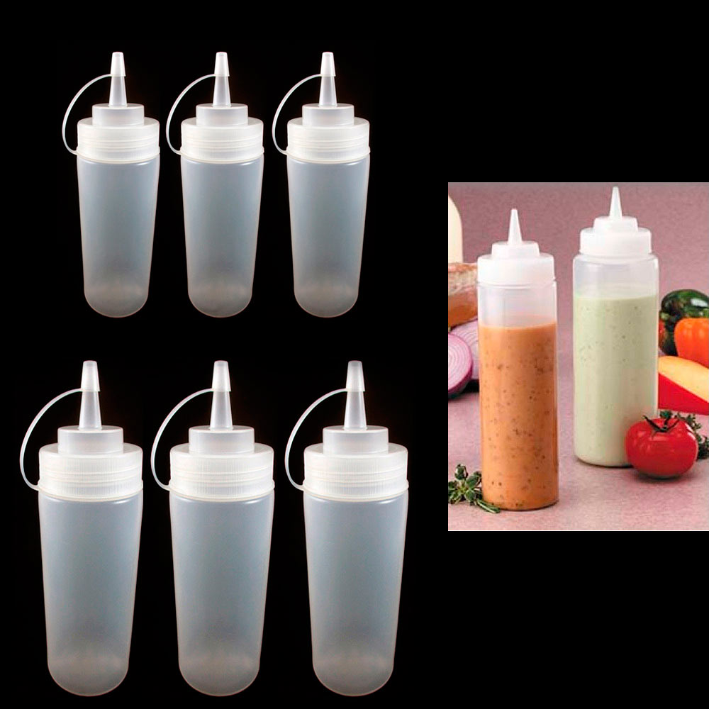 6 Clear Plastic Squeeze Bottle 12Oz Condiment Ketchup Mustard Oil Mayo Dispenser by PRIDE PRODUCTS