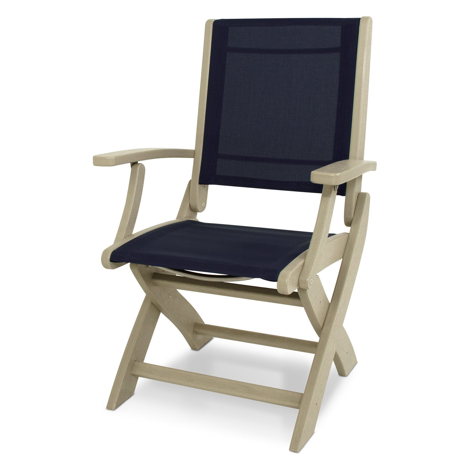 Polywood 9000-SA902 Coastal Sand and Navy Blue Sling Folding Chair