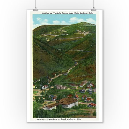 Idaho Springs, Colorado - Looking Up Virginia Canyon showing Road to Central City (9x12 Art Print, Wall Decor Travel Poster) (Party City In Colorado Springs)