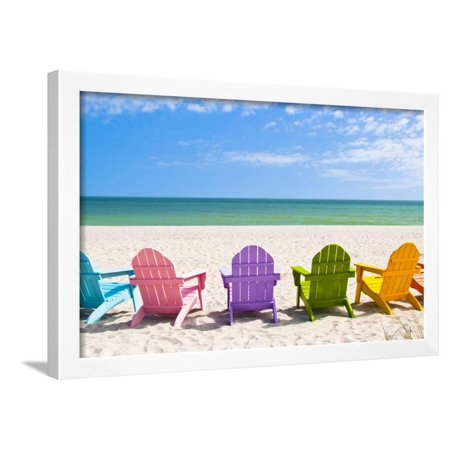 Adirondack Beach Chairs On A Sun In Front Of Holiday Vac Coastal Ocean Landscape Photography Framed Print Wall Art By Chad Mcdermott