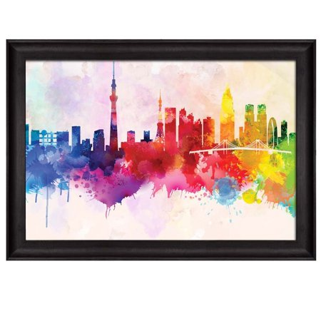 wall26 - Colorful Rainbow Splattered Paint on The City of Tokyo in Japan - Framed Art Prints, Home Decor - 24x36 inches (Paint Splatter Clip Art)